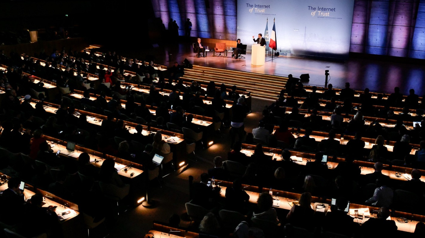 French President Emmanuel Macron announces The Paris Call for Trust and Security in Cyberspace at UNESCO headquarters in Paris on Nov. 12, 2018. Photo by Brian Smale / (c) Microsoft